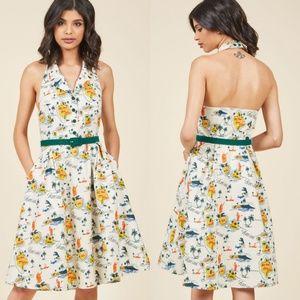 Modcloth Hawaii Halter Dress M